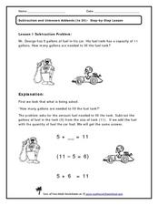 Subtraction and Unknown Addends (to 20) Worksheet