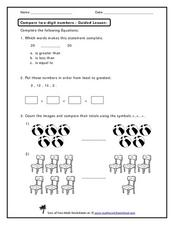Compare Two-Digit Numbers - Guided Lesson Worksheet
