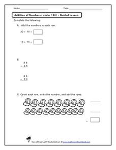 Addition of Numbers (Under 100) Worksheet