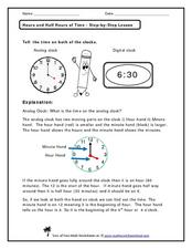 Hours and Half Hours of Time- Step-by-Step Lesson Worksheet