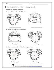 Hours and Half Hours of Time  Worksheet