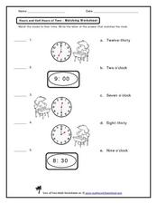 Hours and Half Hours of Time- Matching Worksheet Worksheet