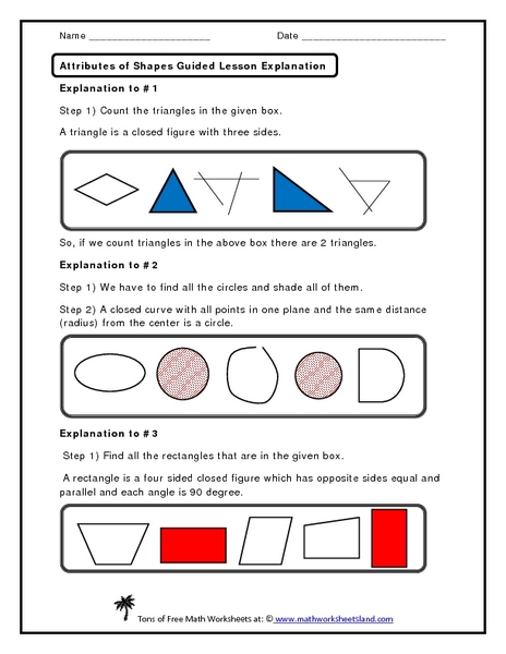 Attributes of Shapes Guided Lesson Explanation Worksheet