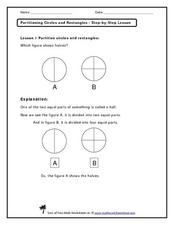 Partitioning Circles and Rectangles - Step-by-Step Lesson Worksheet