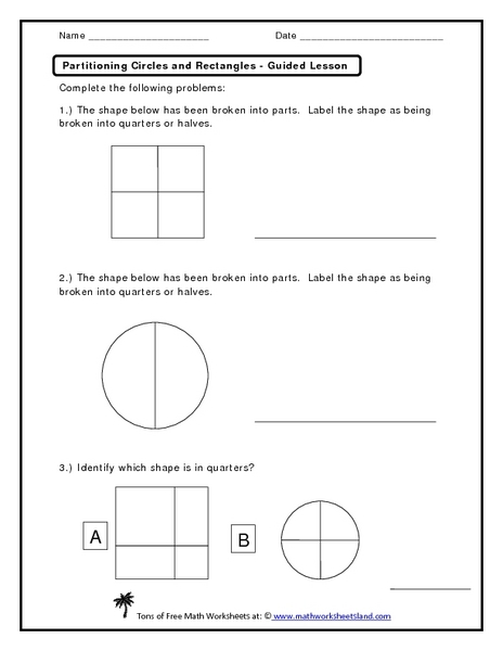 Partitioning Circles and Rectangles - Guided Lesson Worksheet