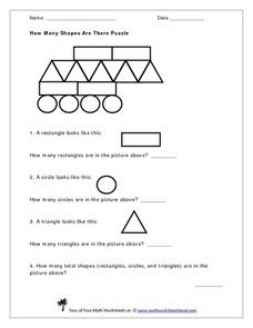 How Many Shapes in the Puzzle? Worksheet