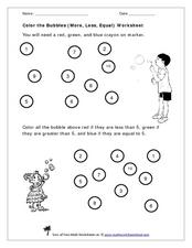 Color the Bubbles (More, Less, Equal) Worksheet