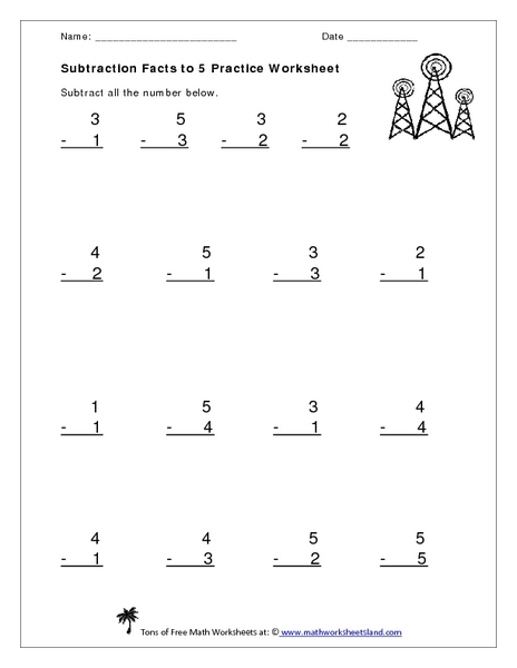 Subtraction Facts to 5 Practice Worksheet Worksheet