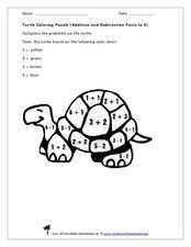 Turtle Coloring Puzzle (Addition and Subtraction Facts to