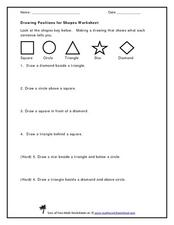 Drawing Positions for Shapes Worksheet Worksheet