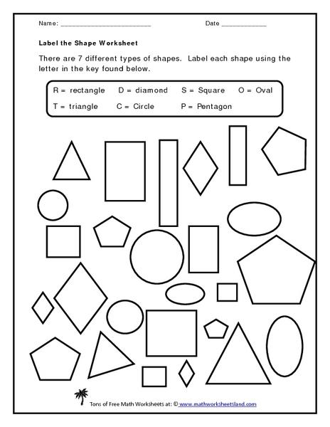 Label the Shape Worksheet Worksheet for Kindergarten