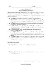 Reflection: Boycott Agreement Worksheet