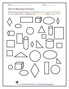 Color the Right Shapes Worksheet