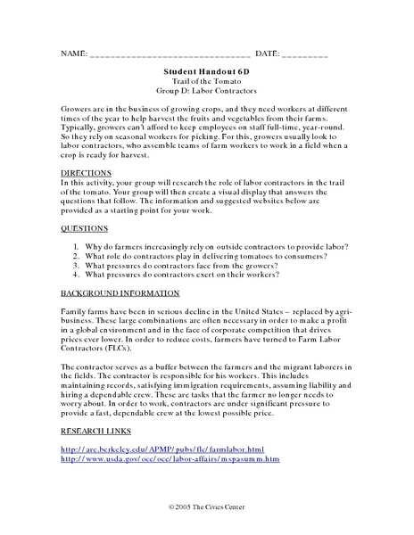 Student Handout 6D: Trail of the Tomato: Group D: Labor Contractors Worksheet