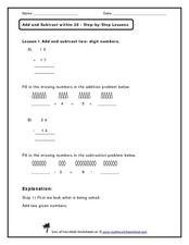 Add and Subtract Two-Digit Numbers Worksheet