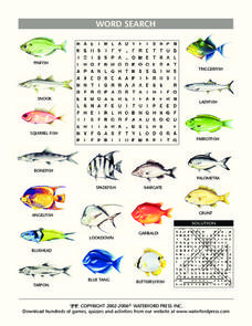 Fish Word Search Lesson Plan