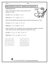 Add and Subtract within 20 - Guided Lesson Explanation Worksheet