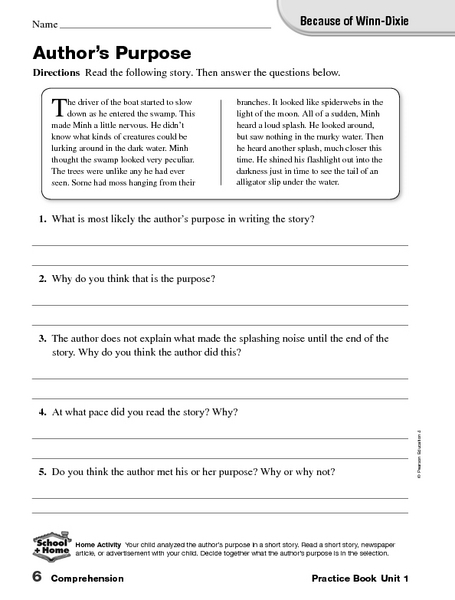 Because Of Winn Dixie Author 39 S Purpose Worksheet For 5th