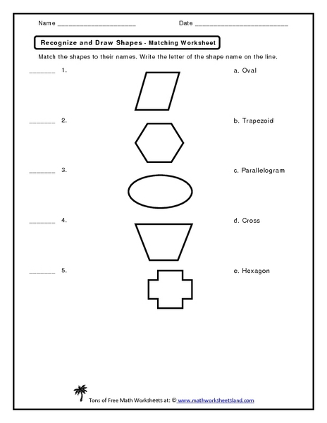 Recognize and Draw Shapes- Matching Worksheet Worksheet