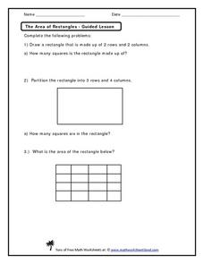 The Area of Rectangles - Guided Lesson Worksheet