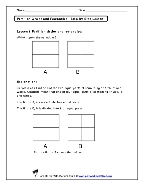 Partition Circles and Rectangles - Step-by-Step Lesson Worksheet
