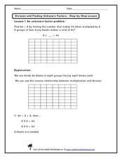 Division and Finding Unknown Factors - Step--by-Step Lesson Worksheet