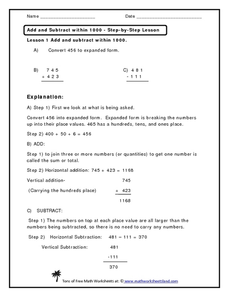 Add and Subtract within 1000 - Step-by-Step Lesson Worksheet