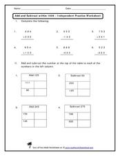 Add and Subtract within 1000 - Independent Practice Worksheet Worksheet