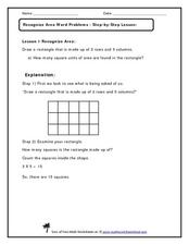 Recognizing Area Word Problems Worksheet