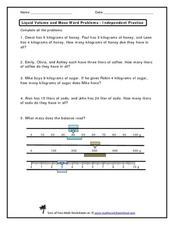 Liquid Volume and Mass Word Problems Worksheet