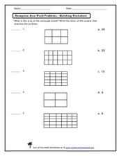 Recognize Area Word Problems - Matching Worksheet Worksheet