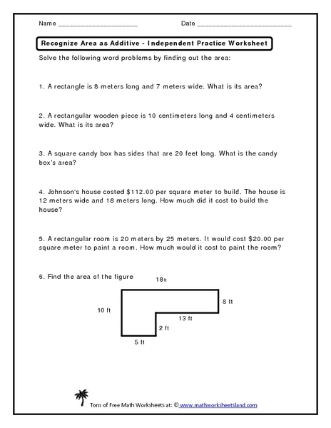 Recognize Area as Additive - Independent Practice Worksheet Worksheet