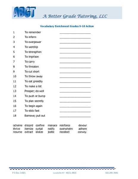 Vocabulary Enrichment Grades 9-10 Action Worksheet for 9th ...