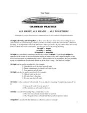 All Right, All Ready...All Together! Grammar Practice Worksheet