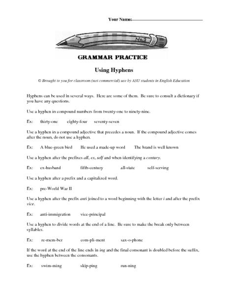 Hyphen Lesson Plans Worksheets Lesson Planet