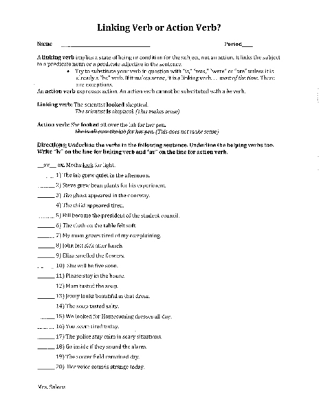 Linking Verb Or Action Verb? Worksheet For 5th - 7th Grade Lesson Planet