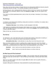 Grammar Worksheet: Lie vs. Lay Worksheet