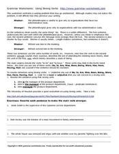 grammar worksheets using strong verbs worksheet for 7th 9th grade lesson planet. Black Bedroom Furniture Sets. Home Design Ideas