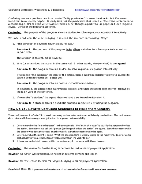 Rewriting Confusing Sentences Worksheet
