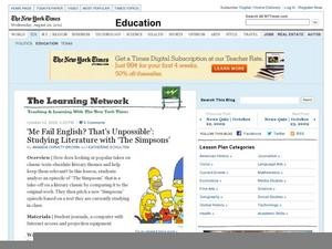 "'Me Fail English? That's Unpossible' : Studying Literature with ""The Simpsons"" Lesson Plan"