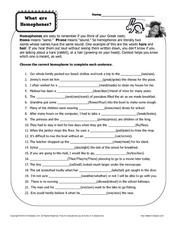 What Are Homophones? Worksheet