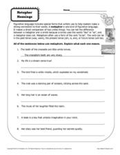 Metaphor Meanings Worksheet