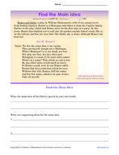 Find the Main Idea in Romeo and Juliet  Worksheet