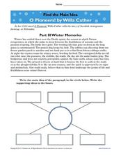 Find the Main Idea: O Pioneers! by Willa Cather Worksheet