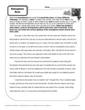 Homophone Hunt Worksheet