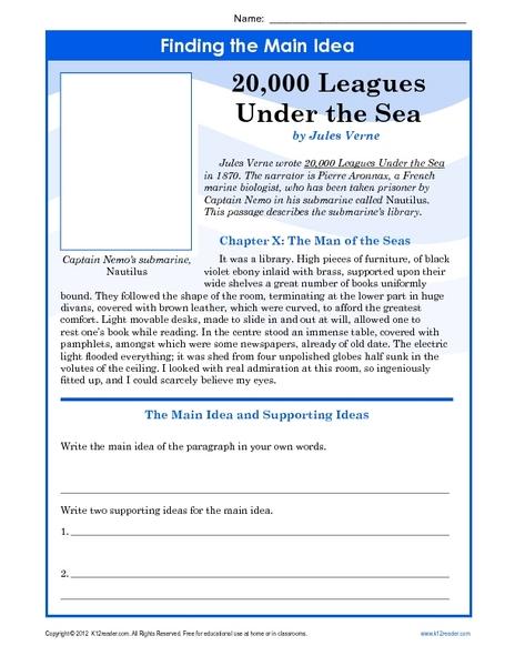 Finding The Main Idea 20 000 Leagues Under The Sea