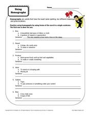 Using Homographs  Worksheet