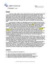 Reading Comprehension 1: Level 9 Worksheet