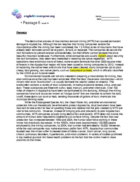 Reading Comprehension 5: Level 10 Worksheet for 9th - 10th ...