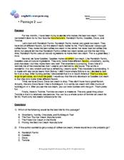 Reading Comprehension 2 Worksheet